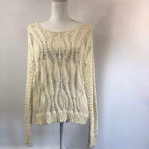 American Eagle S Ivory Open Knit Sweater